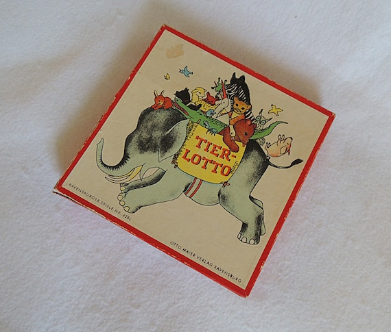 Vintage Ravensburger Tierlotto Childrens Game.. German French English.. Cute Animals