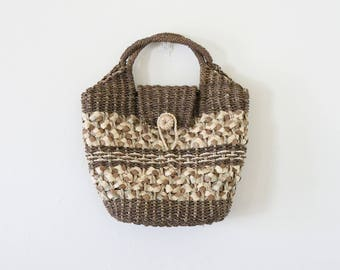Vintage Petite Beige and Brown Woven Straw Handbag // Small Basket Purse