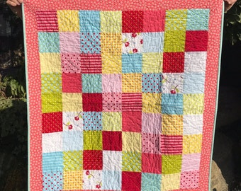 Handmade Baby Quilt, pink and red