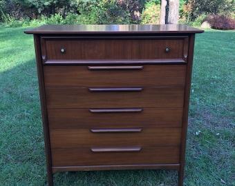 Mid Century Modern Ramseur Gentleman's Chest, Highboy Gentleman's Dresser, Walnut Tall Dresser, Mid Century Dresser by Ramseur Furniture Co.