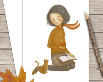 Autumn Friendship Card - Card for Book Lovers