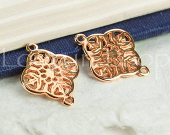 25%OFF Filigree Connector Round Pendant Rose Gold 2 Holes, Greek Mykonos Metal Casting, European Cast Zamac 15x20 2pcs TH306