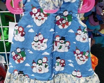 Reversible Jumper 18 Months or 1T Snowman and Snowflakes with ruffle