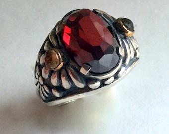 Garnet ring, January birthstone ring, Silver Gold Ring, floral ring, red stone ring, statement ring, cocktail ring - Mystic day R2212