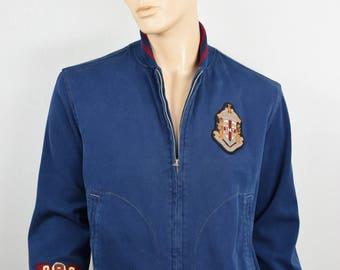 Vintage 1990's Polo Ralph Lauren Varsity MADISON BLEECKER Patch Bomber Stadium Jacket Mens Size L