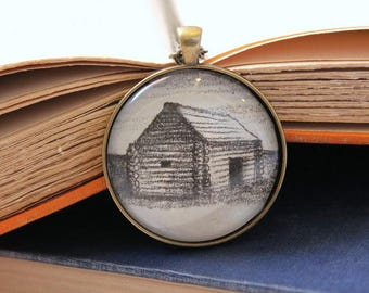 Little House on the Prairie pendant - children's book club gift - literary necklace teacher graduation gift - literary holiday book jewelry