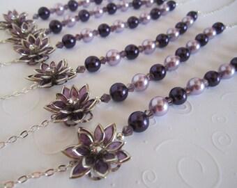 Purple Bridesmaid Necklace Purple Wedding Bridesmaid Gift Purple Flower Bridal Necklace