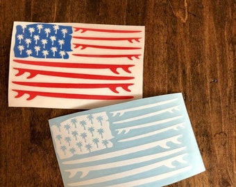 Surfboard decal, American Flag decal, surfing decal, Surf decal, birthday gift, gift for her, yeti decal, car decal, back to school