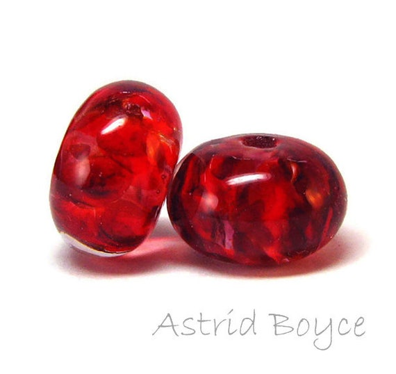 Ruby Red Lampwork Bead Pair - Spacer Beads in a gorgeous ruby red colorway - Art Jewelry Crafting Creations - Perfect for your OOAK Art Doll