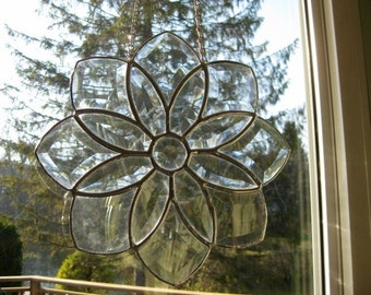 Hand made clear beveled stained glass art