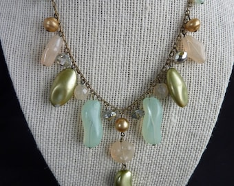 Vintage Necklace Mint Green and Crystal Bead Necklace Gold tone