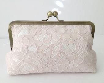 Bridal Clutch Blush pink Lace over silk  bridesmaid clutch, Luxurious Wedding Clutch Blush- pretty, elegant, beautiful