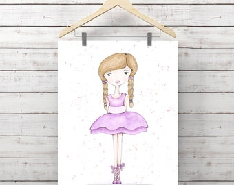 Ballerina Watercolor Print - Giclee Art Print - Little Girl Art - Watercolor Whimsy Girl - Original Art by Angela Weber