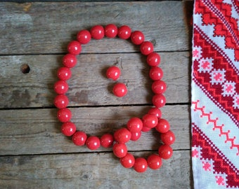 Red wooden set,Ukrainian style,Red Wooden necklace, bracelet and earlings,Elastic eco necklace,Chunky wood necklace,wooden jewelry,ethnic