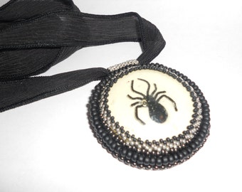 Black Widow Beadwoven Cabochon Vintage cab, silk ribbon tie