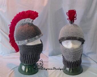 Greek Trojan Helmet, Ski Mask, INSTANT DOWNLOAD Crochet Pattern,5 Sizes Child-Adult,