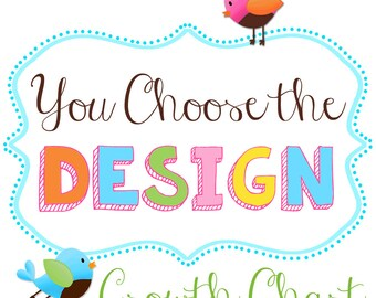 Canvas Growth Chart - YOU CHOOSE the DESIGN Kids Bedroom Baby Nursery Bedroom Wall Art Gc0278