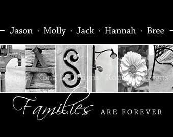 Family Name print - Alphabet photo art - Black and White Print- 10x20 Unframed