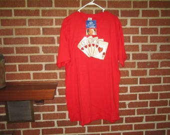 Vintage Perfect XL Red Cotton T Shirt with Sequin Royal Flush Poker Design NWT