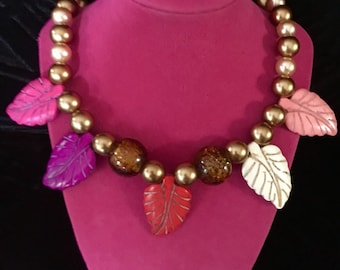 Colorful natural stone leaf necklace.