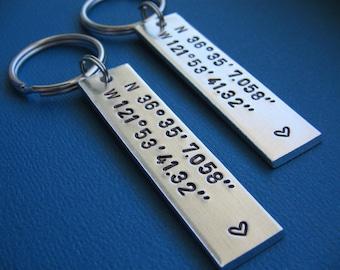 Coordinates Keychains, Custom Coordinates, Couples Set, GPS Latitude Longitude, Coordinate Key Chain, Boyfriend Gift, Girlfriend gift