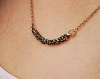Bohemian bar necklace, minimalist bronze tone necklace, everyday charm necklace, trend necklace