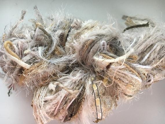 Art Yarn, Diva DeStash Yarn, Ivory cream chunky yarn Blend Scarf Skein Yarn, 92 yards, Multitextural hand-tied novelty yarn skien, supply