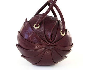 Round Leather Bag   Round Crossbody Bag   Leather Shoulder Bag   Circle Bag   Leather Round Bag   Round Purse Baby Cocoon Burgundy