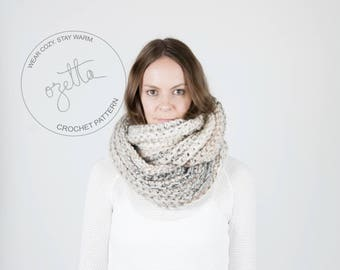Crochet Pattern / Infinity Scarf, Ribbed Texture, Cowl / THE KOBUK