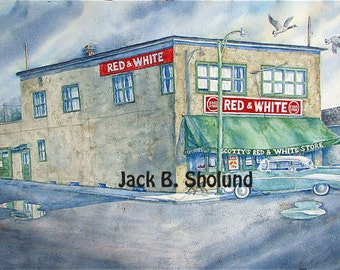 Scottie's Red and White Grocery Store In Bigfork Version One Watercolor Notecard