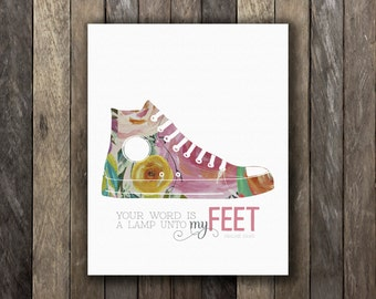 Your Word Is A Lamp Unto My Feet   Verse Print   Instant Download   Sneaker
