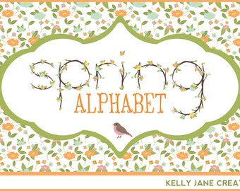 Spring Pastel Flower Alphabet made with Tree Branches - Blog Graphics - Instant Download