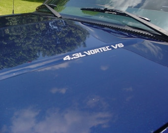 4.3L VORTEC V6 Hood Decals Your choice of color