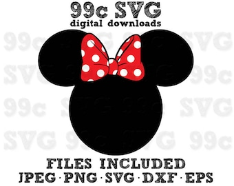 Minnie Mouse Head SVG DXF Png Vector Cut File Cricut Design Silhouette Cameo Vinyl Decal Disney Party Stencil Template Heat Transfer Iron