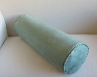 faux suede in minty green bolster pillow 7x20 includes insert