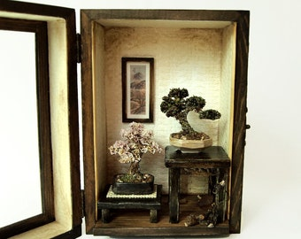 Bonsai Trees set, Vintage miniature Dollhouse 1/12 (BMS03)