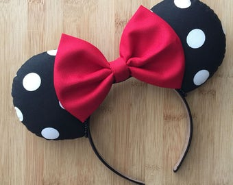 Classic Mouse Ears, Classic Minnie Inspired Ears, Classic Ears, polka dot ears, Classic Minnie Ears