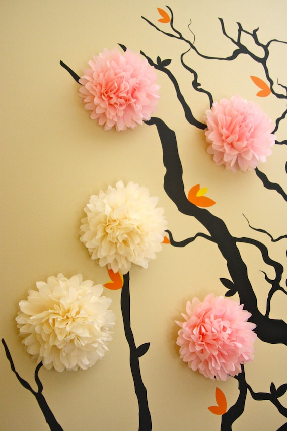 5 Mini Tissue Paper Pom Poms / Wall Decor / Nursery Decor /