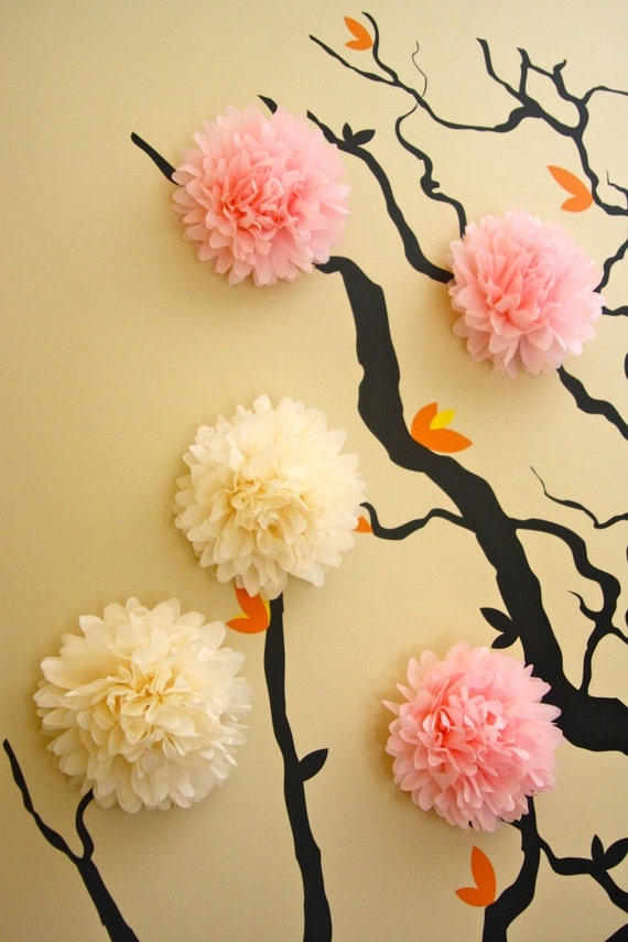 5 Mini Tissue Paper Pom Poms Wall Decor Nursery