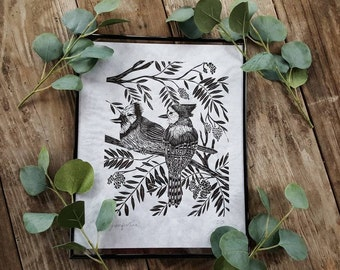Blue Jay print - bird print - linocut print - block print