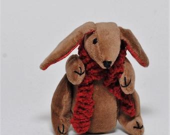 Little Brown Velvet Pocket Rabbit,  Little Brown Velvet Bunny Toy,   Rabbit Handmade with Organic cotton and wool stuffing, Christmas gift