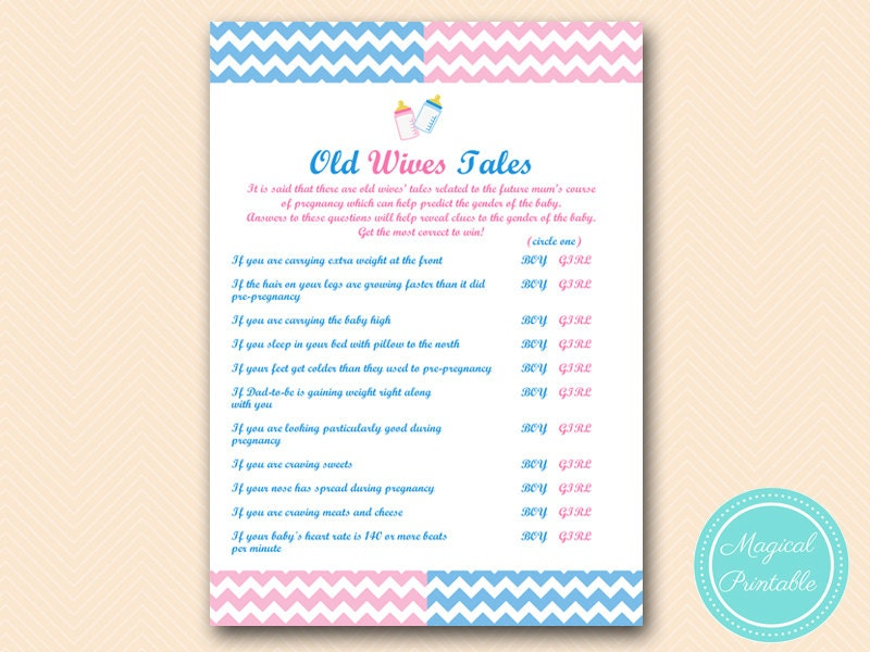 Old wives tales baby gender game Gender reveal party Games