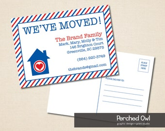 We've Moved Postcard - Announcement - New to the Neighborhood - 4.25 x 6 File - First Class Mail - Home Is Where The Heart Is