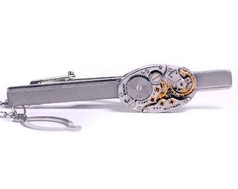 Steampunk Antique 1950's Hamilton Watch Movement Tie Bar Alligator Clip