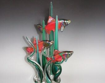 Sockeye Salmon in Sea Grass - Hand Blown Glass Sculpture