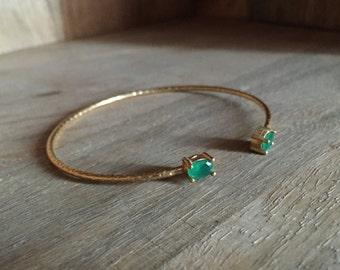 Bangle Bracelet hammered with two green stones Crystal Quartz