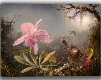 Martin Johnson Heade: Cattleya Orchid and Three Hummingbirds. Fine Art Canvas. (04180)