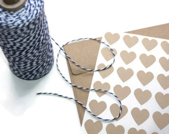 24 Small Brown Kraft Paper Heart Stickers