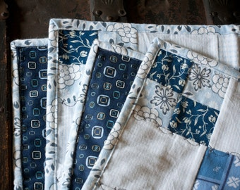 Blue Squares Flannel Snuggly Patchwork Baby Blanket