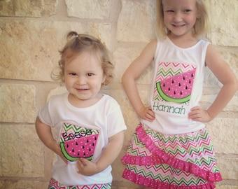Girl's Watermelon Box Applique Tshirt